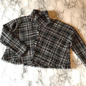 Zara Women's Cape Poncho Pullover Crop Fringe